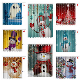 Wholesale modern print curtains - 9 Styles 165*180cm Christmas Shower Curtain Santa Claus Snowman Waterproof 3D Printed Bathroom Shower Curtain Decoration CCA7898 20pcs