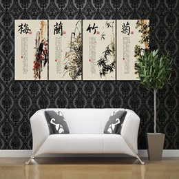 Wholesale Plum Blossom Canvas Art - Plum Blossom Orchid Bamboo Chrysanthem Chinese Style Calligraphy Painting 4 Panels Art Oil Painting Printed On Canvas Home Decoration