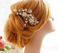Wholesale Honey Bridal - 2016 Gold Silver Bridal Accessories Twigs Honey Hair Accessories Hand Made Headwear Crystal Beads Beading Headbands Wedding Accessories