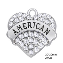 Wholesale Material Jewelry - Fashion Wholesale Zinc Alloy Material Rhodium Plated Text AMERICAN Mixcolor Rhinestone Pendant Charms For Jewelry Accessroy