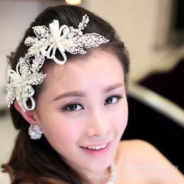 Wholesale Crown Bridesmaid Jewelry - Silver Flower Leaf European Bridal Wedding Bridesmaid Prom Party Crystal Tiaras Headband Hair Jewelry Accessories