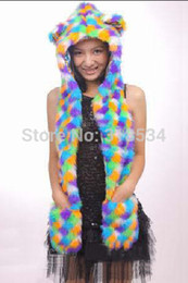Wholesale Animal Scarf Hat Mittens - Wholesale-New Arrival Rainbow Color Faux Fur Animal Hats with Long Scarf Mittens Animal Ears Hoodie Hood Winter Hats Scarves & Glove sets