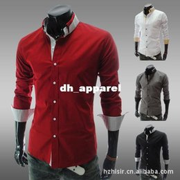Wholesale Blouse Korean Designs - Korean Slimming blouse dress shirts 2015 official Leisure clothing chemise long-sleeved male Designed cotton shirts tops CS11