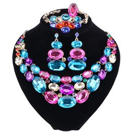 Wholesale Cz Pearl Wedding Bracelet - The New Women's New Fashion Gold-color CZ Crystal Rhinestone Necklace Earrings Bracelet Ring Wedding Jewelry Sets