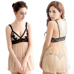 Wholesale Womens V Strings - New Womens Lace Sexy fashion Siamese Sling Embroidery Lingerie Nightwear Dress G-String Underwear Sleepwear 9 Size