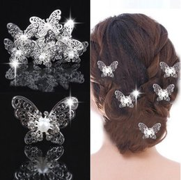 Wholesale Stainless Steel Hair Clip - Bridal Hair Accessories With Pearl,Flowers Beads Bride U Pins Butterfly hair clip Comb Wedding Dresses Accessory Charming Headpieces