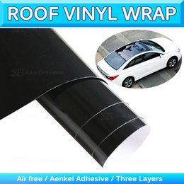 Wholesale Car Gloss - Glossy Car Panorama Sunroof Vinyl Wrap Sunroof Sticker Film 3-Layer Gloss Vinyl Wrapping Air Release 1.35x15m 4.4x49Ft