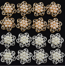 Wholesale Pearl Bouquet Diy - 5%off 2015 new 30pcs lot Flatback Rhinestone gold Silver pearl Button For Hair Flower Wedding Invitation Button DIY bride hand bouquets XF