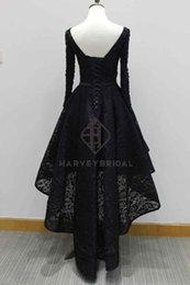 Wholesale Sequin Tank Dress - HarveyBridal Tank Top High Low Prom Dresses Long Sleeves 2017 Backless Lace up Back V-neck Hand Beading Formal Evening Gown Vestido de noche