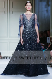 Wholesale Elie Saab Bateau Dress - A Line Elie Saab 2016 New Arrival Beaded Crystals Evening Dresses Luxury Chiffon Dark Navy Sheer Pageant Prom Gowns with Sheer Neck