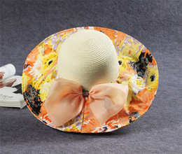 Wholesale Hats Wholes Sales - Wholesale-2015 Hot Summer Hat Floral Straw Hat For Women Large Brimmed Beach Sun Hats With Bow Korean Fashion Chapeu Feminino Whole Sale J