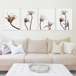 Wholesale Tulip Canvas Wall Art - Nordic Tulips Flower A4 Poster Color Plant Floral Wall Art Pictures Modern Living Room Home Decor Canvas Painting No Frame