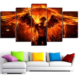 Wholesale black magic paint - Black Magic Flame Angel,5 Pieces Home Decor HD Printed Modern Art Painting on Canvas (Unframed Framed)