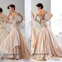 Wholesale Mermaid Couture - 2016 Vintage Evening Dresses Arabic Jajja-Couture Champagne Long Sleeve Beading Ruffled Embroidery Sheer Long Sleeve Formal Prom Dress Gowns