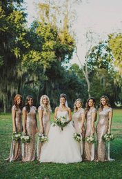 Wholesale Cheap Shimmer Dresses - Bridesmaid Dresses 2016 Gold Sequins Long Shimmering Cap Sleeve Backless Cheap Fashion Bridal Gowns Vestido De Noiva Custom Made