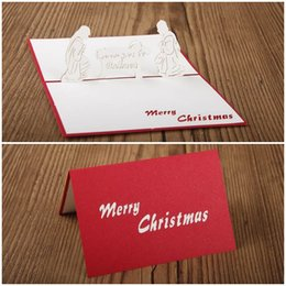 Wholesale Paper Cutting Christmas Greeting Card - 50pcs Red Nativity 3D laser cut pop up cards craft paper cut kirigami greeting cards christmas handmade greeting cards for kids