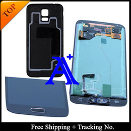 Wholesale Home Button Stickers For Galaxy - Wholesale-Free Shipping +Back cover tested Original For Samsung Galaxy S5 G900 G900F LCD Digitizer Assembly home button +sticker- Black