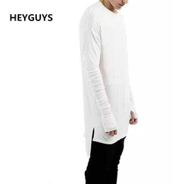 Wholesale Tyga Style Clothes - 2017 New Thumb Hole Cuffs Long Sleeve Tyga Swag Style Man High Low Side Split Hip Hop Top Tee T Shirt Crew T-shirt Men Clothes