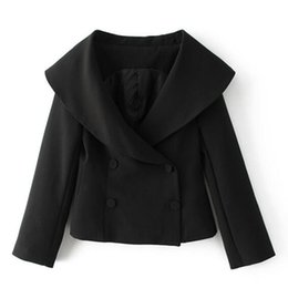 Wholesale Chic Shorts Suit - Chic Big Shawl Collar Double Breated Blazer 2017 New Woman Short Black Suit Jacket Coat Outerwear