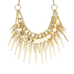Wholesale Vintage Spiked Necklace - Steampunk Vintage Necklace Gold Silver Color Alloy Beads Spike Collar Necklace New Coming Fashion Designer Bijoux for Women