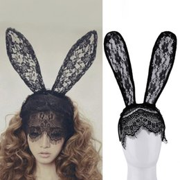 Wholesale Lace Cat Mask Ears - Fashion Women Girl Hair Bands Lace Rabbit Bunny Ears Veil Black Eye Mask Halloween Party Costume Party Headwear Hair Accessories