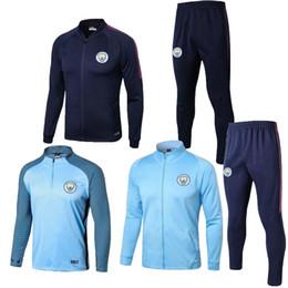 Wholesale Home Wearing - Best quality 2017 KUN AGUERO City home blue soccer Jersey training suit 2018 DZEKO KOMPANY TOURE YAYA DE BRUYNE Football Shirt Training Wear