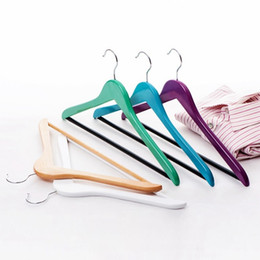 Wholesale Rack Cross Bars - Colorful Wooden Clothes Hanger with Cross Bar for Suits, Candy Color Shirts Hanger Rack