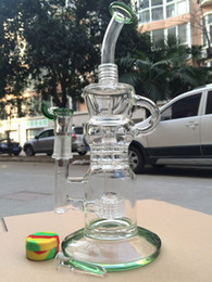 "Wholesale Cheap Vapors - newest 11"" cheap klein recycler glass bubbler bongs with smokey accent Vapor Oil rigs Recycler water pipes with 18.8mm joint"