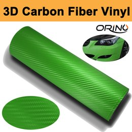 Wholesale Green Apple Vinyl - 1.52x30m Roll Apple Green 3D Carbon fiber vinyl Wrap Car Wrapping Carbon Fibre Sheets With Air Drain Top quality Free shipping