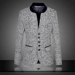 Wholesale Chinese High Collar Jacket - Free shipping 2016 New Arrival Chinese Blazers Men Stand Collar High Quality Men's Suit Fashion Suits Slim Fit Jacket Plus Size M- 6XL