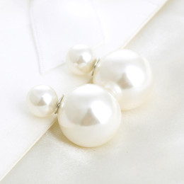Wholesale Mothers Side - New Fashion Womens Jewelry Double Sided Small Pearl Big Pearl 18K White Gold Plated Front and Back Stud Earrings Christmas Hot Gift