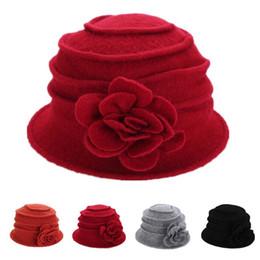 Wholesale Orange Fedora - Autumn Winter Warm Vintage Cap Fashion Wool Women's Cute Lady Hat Bowler Derby Hats Cloche Flower Women Fedora Dome Bob Caps