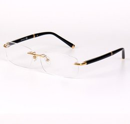 Wholesale Men Eyeglasses Rimless - 374 Brand Design Rimless Glasses Wide Spectacle Men Square eyeglasses frames Titanium glasses prescription lens optical frame eyewear MB