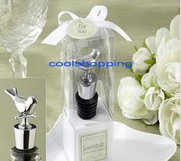Wholesale Chrome Bottle Stopper Wedding Favor - DHL Freeshipping Love bird chrome wine bottle stopper Wedding bridal shower party favor guest gift