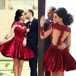 Wholesale Elegant Short Chiffon Dresses - Retro Elegant High Neck Puffy Burgundy Short Mini Prom Dresses Party Dresses Appliques Sheer Back Long Sleeves Satin Cocktail Party Dresses