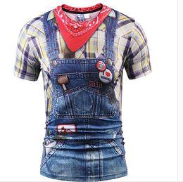 Wholesale Jeans Long Shirts Women - Fashion 3D T-shirt Men women Summer Tops Tees Print Fake Plaid Shirts Jeans T shirt Stylish Tees Shirts