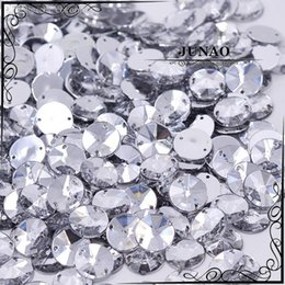 Wholesale Acrylic Rhinestones Flatback - Wholesale-10mm Clear Crystal Rivoli Rhinestone Sew On Flatback Acrylic Gems Round Strass Crystal Stones For Clothing Dress Decorations