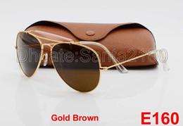 Wholesale Gold Sunglasses For Women - 1pcs New Arrival Designer Pilot Sunglasses For Men Women Outdoorsman Sun Glasses Eyewear Gold Brown 62mm Glass Lenses With Better Brown Case