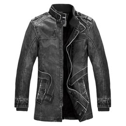 Wholesale Warm Leather Jackets For Men - Wholesale- Standing Collar High Quality Leather Jacket For Men Slim Warm Mens Washed Leather Motorcycle Biker Jackets