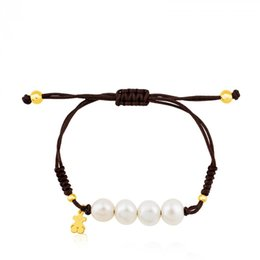 Wholesale pearls woman - Excellentgem Jewelry New Hot style Stainless Steel Charms macrame handmade Jewelry women gift bracelet adjustable size bears pearls bracelet