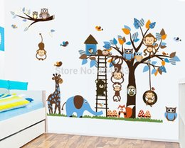 """Wholesale Giraffe Decals - Free Express 73""""x37"""" (185x95cm) Owl Wall Stickers for Kids Rooms Tree DIY Monkey Giraffe Decal 1set=2pcs Quality SGS Removable"""