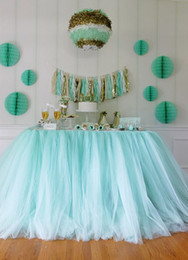 Wholesale Cheap Baby Decorations - 100*80cm Mint Green Tulle Table Skirts Wedding Tutu Table Decoration Cheap Creative Baby Showers Custom Made Birthdays Party Decor