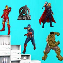 Wholesale Iron Plant Growth - new fashion kid favorite Avengers Iron Man Thor Batman Spider Man Captain America 5 in 1 50*70cm Wall Sticker Home Decor Room children Kids