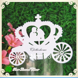 Wholesale Wholesale Cheap Cut Glasses - Wholesale-Cheap Wine Glass Markers carriage Wedding Cake Toppers name card laser Cut Place Card Escort Cards
