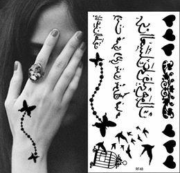 Wholesale Dedicated Tattoo - dedicate butterfly chain birdcage temporary tattoo Arabic tattoo sticker tatuagem temporaria women