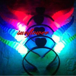 Wholesale Devil Light Headband - Women Girls LED Light Up Flashing Party Headband Devil Horns Hair Band Flashing Led Rave Hair Accessories Toy
