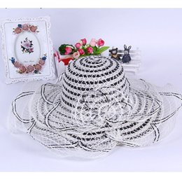Wholesale Knit Visor Hat - Wholesale-summer hat straw Sun Beach Hats for women's girls female pierced visor knit lace Sun caps 2015 new