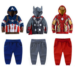 Wholesale Boys Suits Retail - Sports Suit For Boys Superhero Movie Iron Man Cartoon Children Outfits Long Sleeve Hoodies + Casual Pants Kids Clothing Set Retail K1044