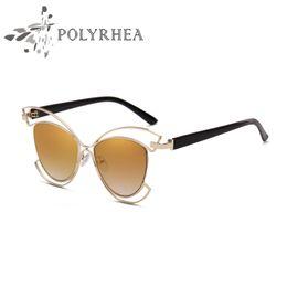 Wholesale Cat Ear Glasses - Luxury Brand Sunglasses Large Frame Elegant Special Designer Cat Ears Polarized Sunglasses Fashion Trends Women Sun Glasses With Box