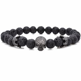 Wholesale Gold Pave Beads - Brand Trendy Natural Beads Strand Bracelet Micro Pave CZ Skeleton Skull Black Lava Rock Stone Energy Men European Buddha Jewelry